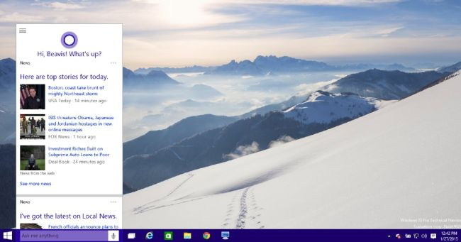 Cortana on Desktop Windows 10 iso